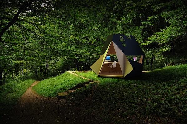 mini bureau dans la nature