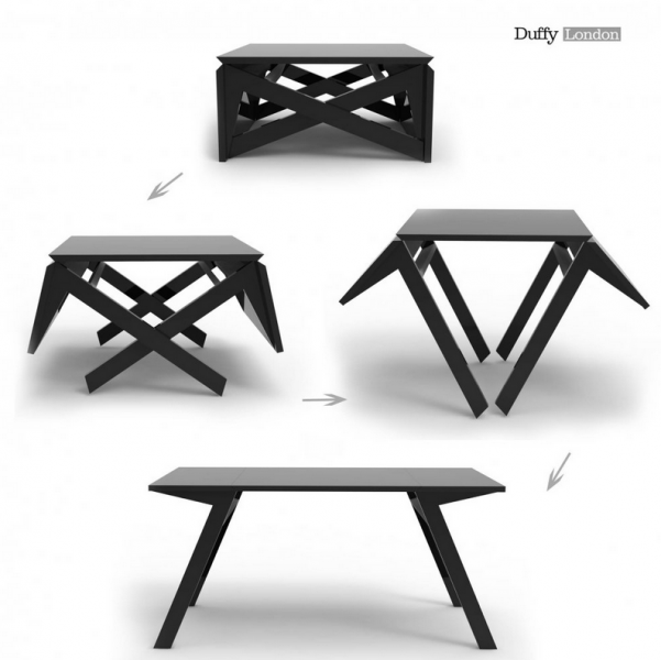 Table pliable transformable g niale pour un petit bureau - Table de salon transformable ...